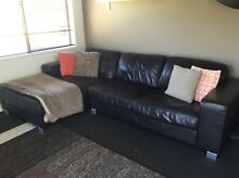 Brown Leather lounge with chaise (moving house!!) Mooloolaba Maroochydore Area Preview