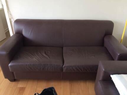 2 genuine leather dark brown couches