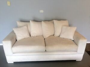 2 X 2.5 seater white suede lounges Joyner Pine Rivers Area Preview