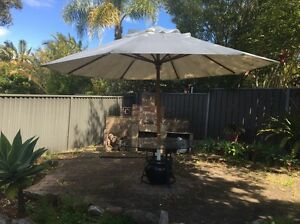 Large 4 Piece Outdoor Garden Setting With Umbrella,Glass Top,Stand,Pot Baulkham Hills The Hills District Preview