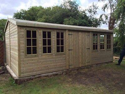 20 X 10 19mm Tanalised Apex Georgian Summer House/workshop/gardenroom/shed