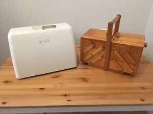 Janome MyStyle 20 Sewing Machine & Large Cantilever Wooden Sewing Box Bondi Beach Eastern Suburbs Preview