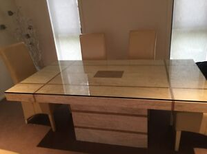 Marble Dining Table Suite Set 6 with Leather Chairs Revesby Heights Bankstown Area Preview