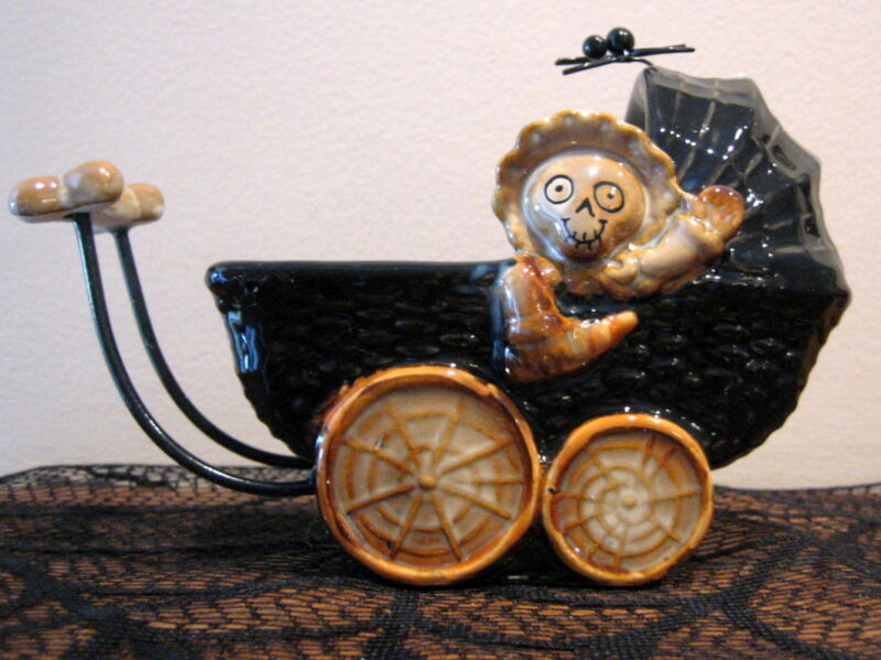 YANKEE CANDLE HALLOWEEN BONEY BUNCH BABY CARRIAGE BUGGY TEALIGHT HOLDER NIB