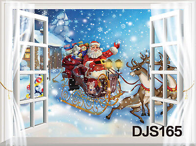 US Vinyl Studio Backdrop Background Xmas Snowflakes Santa Sleigh Reindeer 7x5FT - Snowflake Backdrop