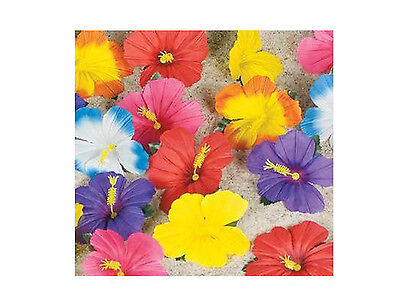 Hawaiian Luau Hibiscus Tropical Flowers Scatter Floral Tabletop Decoration 24 Pc ()