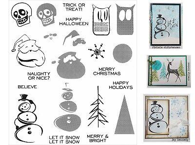 mps - Santa, Christmas Tree, Halloween, Snowflake, Snowman  (Tim Holtz Halloween Stempel)