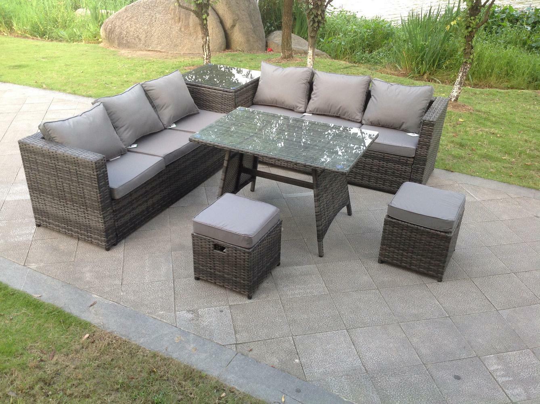 Garden Furniture - Corner rattan sofa set dining table outdoor furniture garden with footstool grey