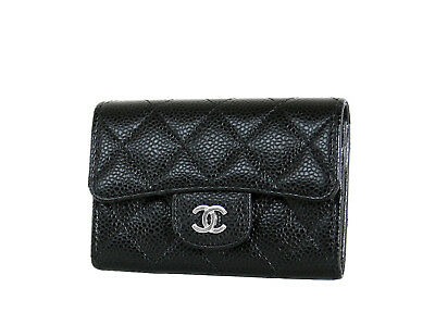 Chanel Card Case O Black Caviar Leather Mini Flap Wallet New in Box with Tags