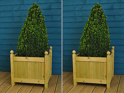 Set of 2 x Wooden Garden Square Patio Planters (43cm) by Gardman