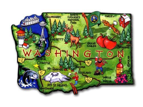 Washington the Evergreen State Artwood Jumbo Fridge Magnet