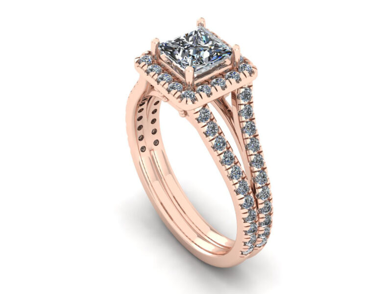 Genuine 1.50ct Princess Cut Diamond Split Shank Bridal Engagement Ring 14k Gold