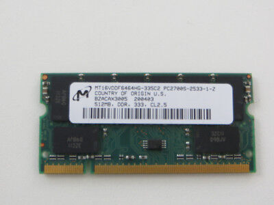 512mb 200 Pin Ddr Pc (512 MB DDR RAM PC-2700S 200-PIN SO-DIMM DDR-333 - Micron MT16VDDF6464HG-335C2 -)