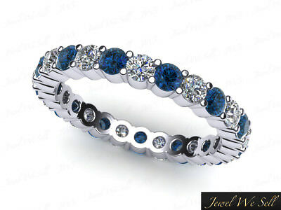 1.30Ct Blue Diamond Classic Shared Prong Eternity Band Ring 10k Gold I2 GH I1
