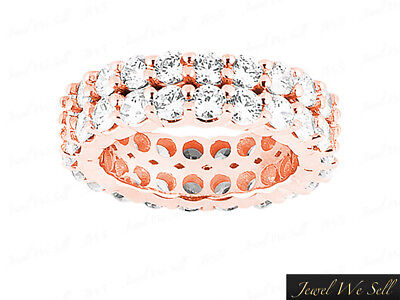 5.40Ct Round Cut Diamond Double Row Eternity Band Ring 18k Rose Gold G SI1 Prong