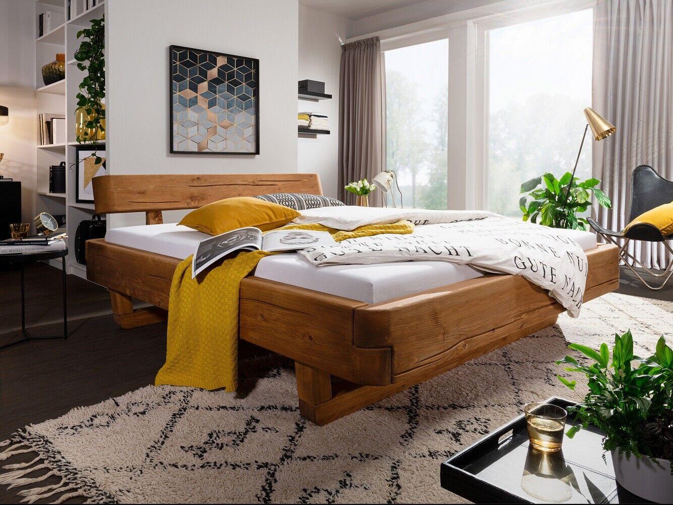 Balkenbett BE-0498 Fichte Tanne massiv eichefarbig Honig 180x200 cm Bett 1
