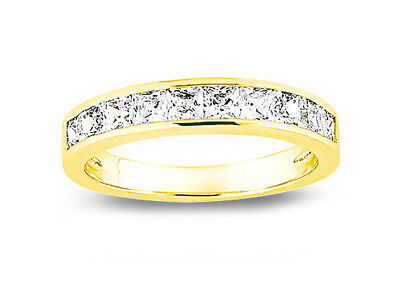 1ct Diamant Ehering Karat Gelbgold Princess Cut Kanal Fassung H SI2 (Gelber Princess-cut Diamant-ring)