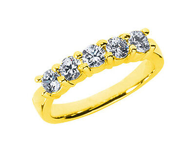 5Stone 1.00ct Diamond Wedding Band Ring 10k Yellow Gold Round I SI2 Prong Set