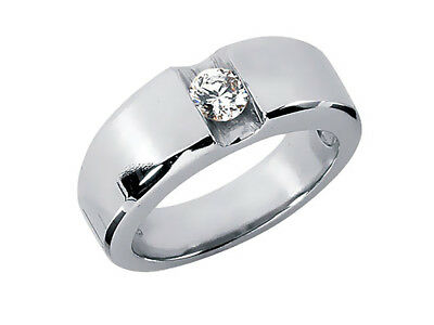 Genuine 0.75Ct Round Solitaire Mens Wedding Band Ring 950 Platinum G SI1 Channel
