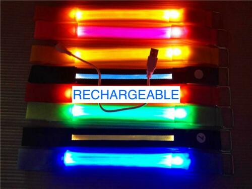 ARM/ANKLE BAND BRACELET RECHARGEABLE LED glow light Safety FOR Running Cycling