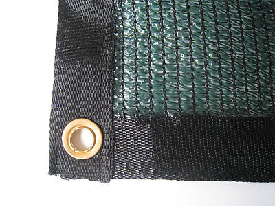 60% Green Shade Cloth Taped Edge with Grommets UV 12 ft x 16 ft