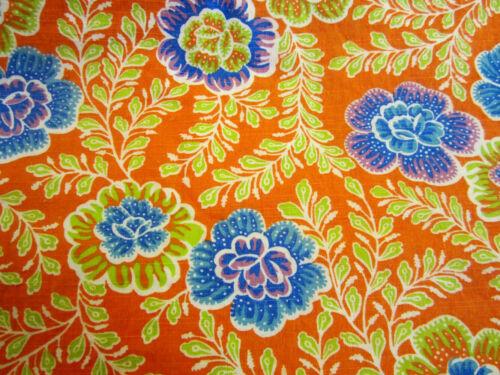 """Vintage Feedsack - 28""""x31"""" orange background, blue flowers, foliage"""