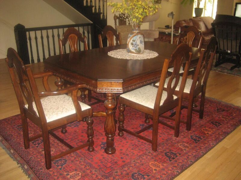 Antique English Jacobean Dining Room Set 6 Chairs, Table