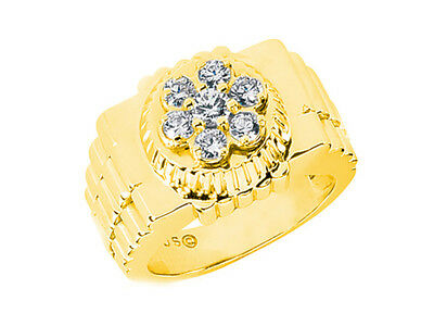 0.55Ct Round Watch Style Band Mens Wedding Band Ring 18K Yellow Gold F VS2 Prong