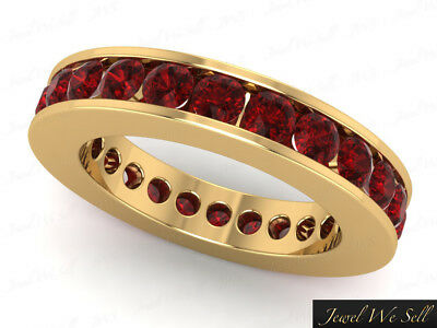 3.75Ct Round Ruby Classic Channel Set Eternity Wedding Band Ring 14kt Gold AAA