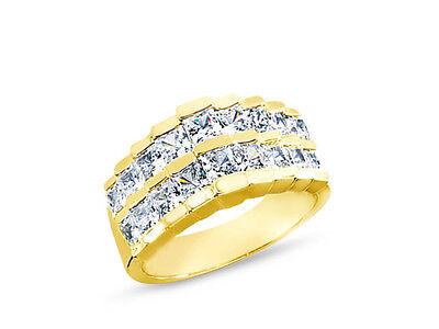 2.84ct Diamant Ehering 18k Gelbgold Princess Cut Kanal Set I SI2 (Gelber Princess-cut Diamant-ring)