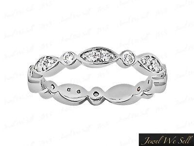 0.45Ct Diamond Alternating Twist Eternity Band Ring 18k White Gold F VS2 Bezel