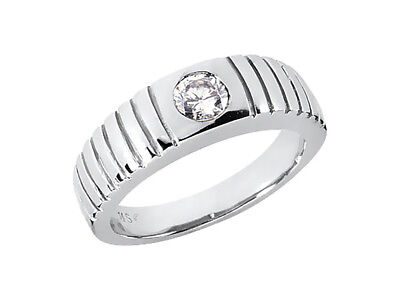 0.5Ct Round Cut Solitaire Mens Wedding Band Ring 14K White Gold I SI2 Bezel