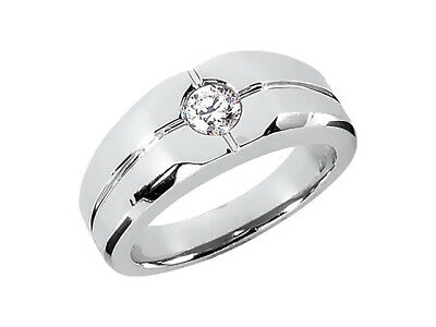Natural 0.25Ct Round Solitaire Mens Bridal Band Ring 18K White Gold I SI2 Bezel
