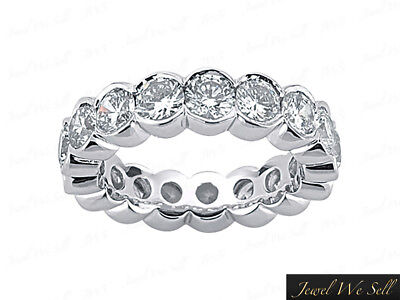 (Natural 2.00 Ct Round Diamond Half Bezel Eternity Band Ring 18k White Gold F VS2)