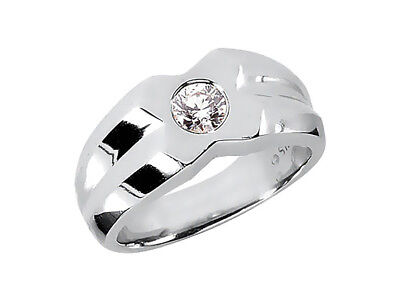 Natural 0.75Ct Round Solitaire Mens Wedding Band Ring 14K White Gold I SI2 Bezel