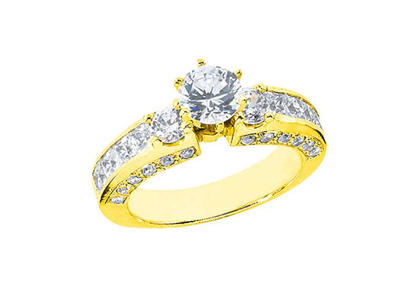 Natural 3.00ct Diamond Round Princess Bridal Engagement Ring Solid 14k Gold