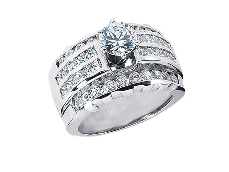 2.50ct Round Princess Round Diamond Wide 4row Engagement Ring 14k Gold I Si2