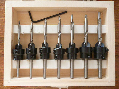 Woodwork Tapered Countersink Drill Bit Set W Adjustable Depth Stop Collarscase