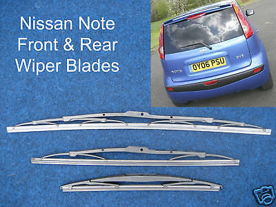 NEW Front  Rear Wiper Blades Fits Nissan Note ALL models 2006 through to 2013