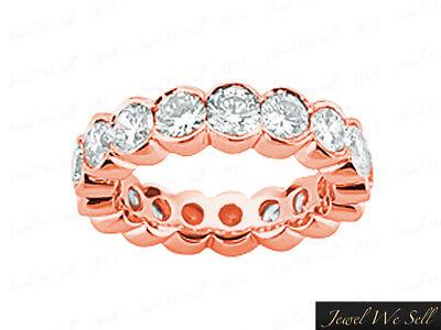 (2.85Ct Round Diamond Half Bezel Wedding Eternity Band Ring 14k Rose Gold G SI1)