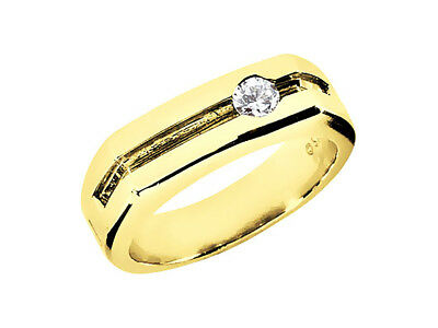 Genuine 1/5Ct Round Cut Mens Wedding Band Ring Solid 18K Yellow Gold G SI1 Bezel