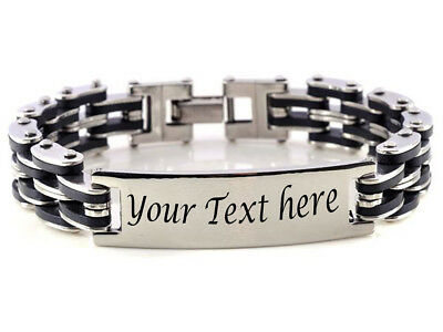 Stainless Steel Men's Chain Link ID Bracelet Custom Engraving Customized Name ID