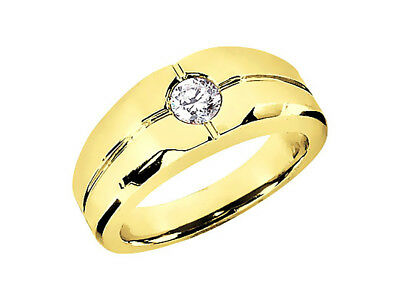 0.75Ct Round Cut Solitaire Mens Bridal Band Ring 18K Yellow Gold G SI1 Bezel Set