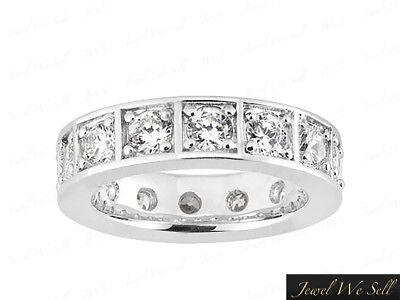 1.80Ct Round Diamond Box Eternity Wedding Band Ring 14k White Gold I SI2 Prong
