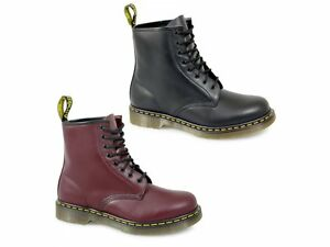 Dr-Martens-1460z-Unisex-Classic-Airwair-8-Eyelet-Boots-Mens-Womens-Black-Red-New