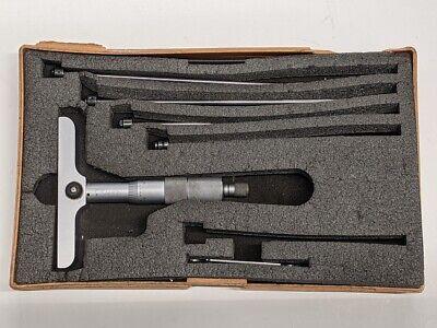 Mitutoyo 0-6 Depth Micrometer 4 Base .001 Ratchet Thimble Lock Missing Rods