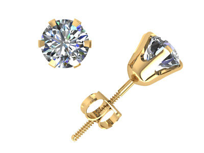 Natural 1.50Ct Round Cut Diamond Stud Earrings 14k Yellow Gold 6Prong Set I SI2