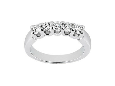 5Stone 1.00ct Diamond Wedding Band Ring 18k White Gold Round Brilliant Cut G SI1