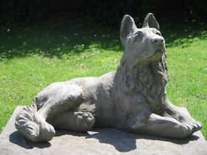 Stone German Shepherd Dog Statue