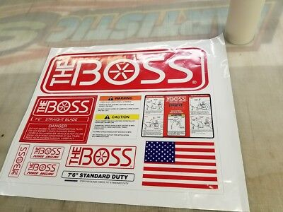 BOSS Snow Plow Straight Blade NEW Decal Replacement 10pc Kit Blade Warning (Standard Snow Plow)